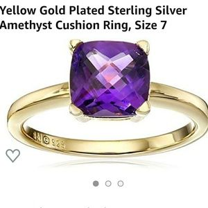 NWT yellow gold plated amethyst ring